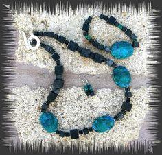 Lava-Malachit Schmuckset Lava, Turquoise Necklace, Etsy, Jewelry, Fashion, Malachite, Gifts, Moda, Jewlery