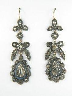 Antique Georgian Period Silver Gold Enamel Rose Cut Diamond Earrings c1800 N R   eBay