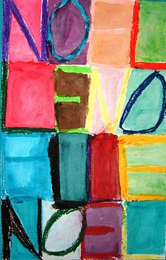 Easy for BOY- Jasper Johns name art. Fold paper to create boxes. Fill the space of each rectangle, use oil pastels, chunky letter, repeat letters, use watercolors to fill in the rest of white spaces. Jasper Johns, Name Art, Painted Paper, Heart Art, Art Club, Art Pages, Art Activities, Teaching Art, Elementary Art