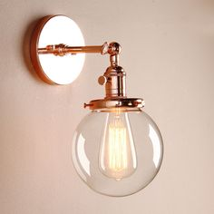 5.9  DECOR VINTAGE INDUSTRIAL WALL LAMP SCONCE GLOBE GLASS SHADE LOFT WALL LIGHT