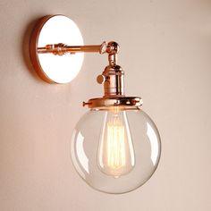5.9++DECOR+VINTAGE+INDUSTRIAL+WALL+LAMP+SCONCE+GLOBE+GLASS+SHADE+LOFT+WALL+LIGHT
