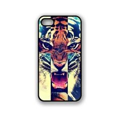 Tiger roaring towards viewer with image hues contrasting in shape of cross. Allows access to all buttons and ports, with opening for top and side buttons, charger port/dock connector, headset jack, speaker, camera lens and flash. Constructed from high-quality materials. Protects your iPhone 5/5S from scratches and accidental bumps.