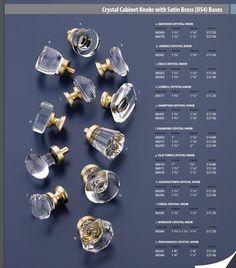 Emtek Crystal Cabinet Knobs In Satin Brass
