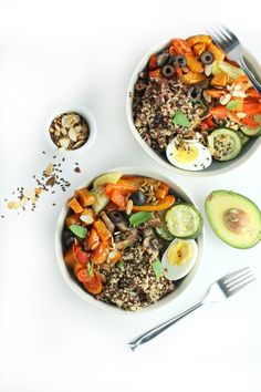Vegetarian Wild Grains and Toasted Nut Veggie Bowl with sweet potato, almonds, hard boiled egg, etc. Great fall recipe!