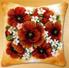Набор для вышивания подушки Vervaco Букет Маки и ромашки PN-0008491