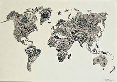 World map zentangle drawing wall art