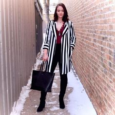 Currently caught up in a pretty serious love affair with stripes Jeans Fashion, Love Affair, Lace Frontal, Bodysuits, Jeggings, Monochrome, Duster Coat, Stripes, Blazer