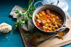 Dutch lamb stew with potato and capsicum