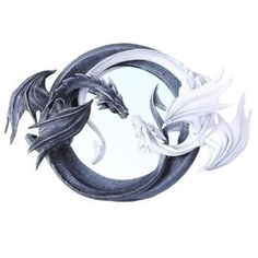 Balance Ying Yang Day & Night Guardian Dragon Round Wall Mirror Plaque Figurine offered by istatue on eBay
