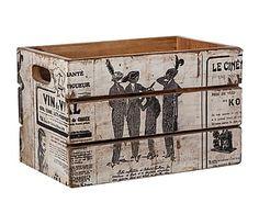 Caja de madera de mango empapelada Vigueur - blanco y negro