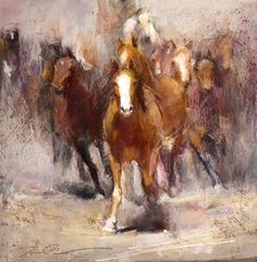 """""""Out in Front"""". Dawn Emerson. Pastel. 20 x 20"""