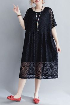 Black And Red Lace Long Summer Dress For Women Q1647