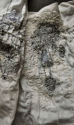 Hand-stitched embroidery detail with decorative patterns & texture - textiles design; drawing with stitch // Junko Oki