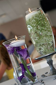 Purple and Green Wedding. Babies Breath. Mercury Glass Wedding #wedding