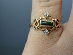 Art Nouveau Ring with Bright Green and Diamond Stones
