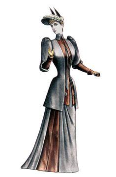 """7. """"Illustration from """"Le Bon Ton et Moniteur de la Mode Unite,"""" 1890s - Bustle diminished, s-curve and hourglass shape, kick-up sleeves"""