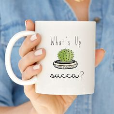The perfect mug to greet your favorite peeps while also getting a good laugh. I mean, who doesnt love a play on words?!? This trendy white coffee mug will surely become your go-to mug for playful mornings. [QUOTE] Whats Up Succa? [FEATURES] + Available in the ever-popular 11 oz. + 15