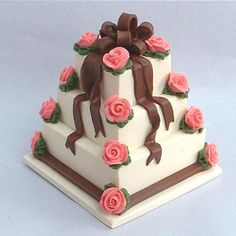 Chocolate ribbons dollhouse wedding cake by Blue Kitty Miniatures, via Flickr