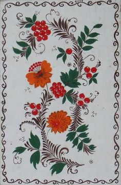 Folk Khokhloma painting from Russia. A floral pattern with berries.