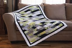 Green Geometric Guestbook Baby Quilt