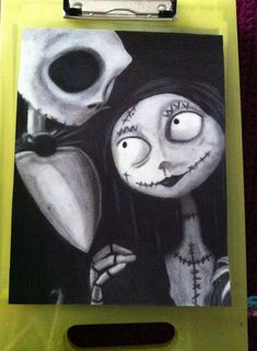 This is a handmade oil pastel drawing of Jack and Sally from The Nightmare Before Christmas. Its approximately and has been sprayed Oil Pastel Art, Oil Pastel Drawings, Art Drawings, Tim Burton Art, Jack And Sally, Christmas Drawing, Chalk Pastels, Nightmare Before Christmas, Love Art