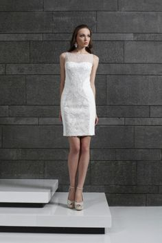 Tony Ward RTW Fall 2014 Style 22 I Short embroidered Off White Cocktail dress in draped Georgette with an embroidered bodice