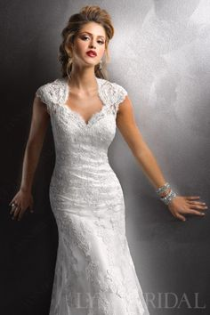 Vintage Sheath Queen Ann Open Back Tulle Lace Wedding Dress - sleeves