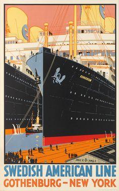 SAL Harry Hudson Rodmell (1896-1984) SWEDISH AMERICAN LINE / GOTHENBURG - NEW YORK. Circa 1928 [also av posterteam.com]