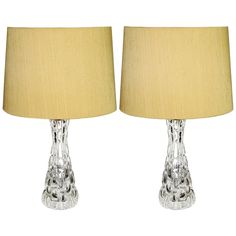 For Sale on - Exceptional pair of thick relief heavy crystal table lamps with polished nickel hardware by Orrefors. Signed under the bottom. Signed on the nickel top Swedish Design, Contemporary Lamps, Bottles And Jars, Mid Century Design, Transparent, Midcentury Modern, Polished Nickel, Vintage Designs, Glass Art