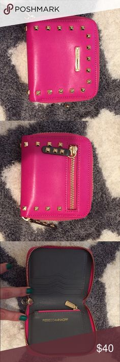 New Rebecca Minkoff hot pink wallet Small RM studded wallet| Excellent condition| Authentic Rebecca Minkoff Bags Wallets