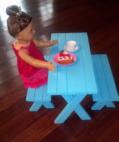 Wooden Picnic Table For American Girl Dolls