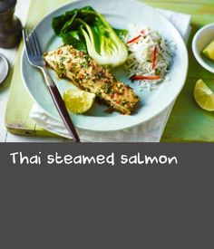 Thai steamed salmon |      A must for all recipe binders - this quick and easy, healthy steamed fish recipe is bursting with fresh flavour. This meal provides 346 kcal, 38.7g protein, 2.4g carbohydrate (of which 2.3g sugars), 20.1g fat (of which 3.4g saturates), 2.8g fibre and 4.7g salt per portion. Quick Salmon Recipes, Fat Free Recipes, Easy Fish Recipes, Thai Recipes, Quick Recipes, Pork Recipes, Healthy Recipes, Steamer Recipes
