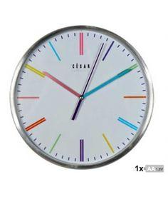 Reloj de pared aluminio puntos horas de colores de 25 cm