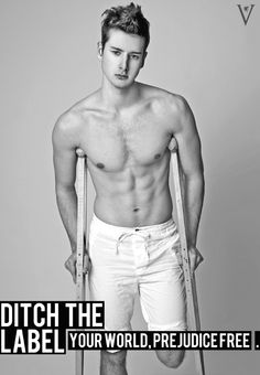 Ditch the Label: campaign for equality and a world without prejudice. Summer 2012 campaign: disability, disabled, guy, model, beautiful, topless, fitness, muscle, stereotype, prejudice, inspirational, ditch the label
