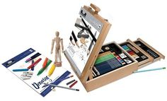 Art Set Supply 124 Pc Professional Easel Young Artist Kit Pencil Pastel Charcoal