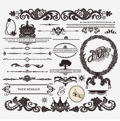 Vector of 'Calligraphy set: vintage style, ornate design ornaments and page decoration (creative patterns)' Free Vector Graphics, Eps Vector, Free Vector Images, Vector Art, Vector Format, Art Design, Vector Design, Design Elements, Corel Draw Tutorial