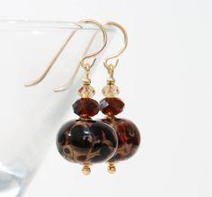 Caramel and Chocolate Earrings Dark Brown Earrings by lilicharms