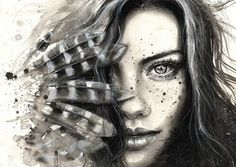 and white watercolor hand painted portrait of a girl with feathers and freckles. Ink splattersBlack and white watercolor hand painted portrait of a girl with feathers and freckles. Canvas Artwork, Canvas Prints, Art Prints, Ink Splatter, Oeuvre D'art, Amazing Art, Illustration, Art Gallery, Gifs