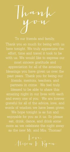 Wedding Thank You Cards for Welcome Bag or Reception Table