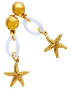Orecchini pendenti stelle marina in argento in bagno d'oro e ceramica by Giovanni Raspini