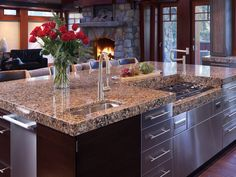 Light Quartz Countertop With Dark Cabinets Kitchens Pinterest Dark Cabinet Kitchen Brown