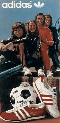 Adidas 1974 - Initially created to provide athletes with the best possible equipment. When the German national football team won the world cup final wearing Adidas, the brand became a household name. Adidas Superstar Vintage, Adidas Vintage, Adidas Samba, Adidas Zx, Retro Advertising, Retro Ads, Vintage Advertisements, Adidas Busenitz, 1970s