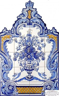 Portuguese Hand Painted Blue Flower Vase Tile Mural Azulejos A beautiful cutout tile mural with the BLUE FLOWER VASE motive finely painted. Quantity: 24 tiles Size: X X (each tile size or Origin: Portugal Production method: Handmade, hand painted, XVI, Painting Ceramic Tiles, Tile Art, Wall Tiles, Portuguese Tiles, Portuguese Food, Tile Murals, Wall Mural, Hand Painted Ceramics, Custom Paint