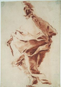 Giovanni Battista Tiepolo, Roman Soldier, Red chalk wash over black chalk on beige paper. Gift of Dan Fellows Platt, Class of Photo Bruce M. Courtesy of the Princeton University Art Museum. Figure Sketching, Figure Drawing, Dancing Drawings, Art Drawings, Life Drawing, Painting & Drawing, Roman Soldiers, Drawing Studies, Sacred Art