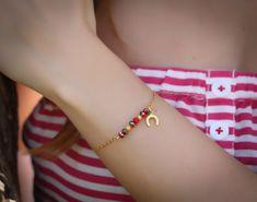 "Good luck bracelet, horse shoe bracelet, 14k gold filled, bridesmaid gift, swarovski bracelet, delicate gold bracelet, ""Ismene"" Bracelet"