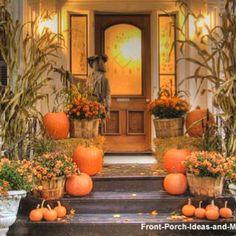 Cornstalks on the pillars.  Fall front porch