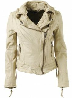 NWT Muubaa Aydene Leather Biker Jacket Butter White US Size 6 UK 10
