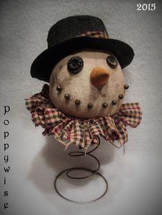 OOAK Primitive Christmas Folk Art * Olde SNOWMAN Rusty Spring Nodder Doll #NaivePrimitive