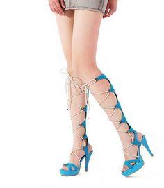 Hot Lace Up Design Blue Plus Size Summer Sandals