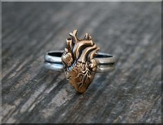 Anatomical Heart Ring Sterling Silver Bronze Heart Ring Anatomical Heart Jewelry Stacking Jewelry Stacking Ring Medical Jewelry by thewrappedpixie Heart Jewelry, Cute Jewelry, Boho Jewelry, Diamond Jewelry, Jewelry Rings, Jewelry Box, Heart Ring, Jewelry Accessories, Gold Jewellery